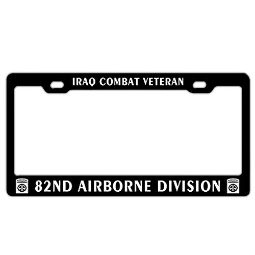 YEX Abstract Iraq Combat Veteran 82nd Airborne Division License Plate Frame Car Licence Plate Covers Auto Tag Holder 6
