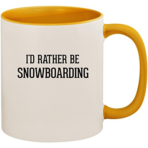 I'd Rather Be SNOWBOARDING - 11oz Ceramic Colored Inside and Handle Coffee Mug Cup, Golden -