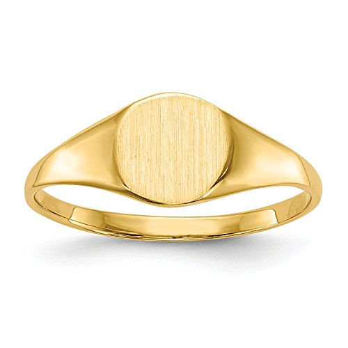14k Yellow Gold 6.5x7.5mm Closed Back Signet Band Ring Size 6.00 Fine Jewelry Gifts For Women For Her ()