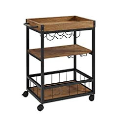 Home Bar Cabinetry Linon Austin Kitchen Cart, 30.5″W x 18.13″D x 36.25″H, Black home bar cabinetry