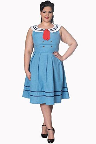 Plus Retro Blau Größen Verbotenes oder Wassermann Kleid Marine Marineblau Weinlese qFBvvt