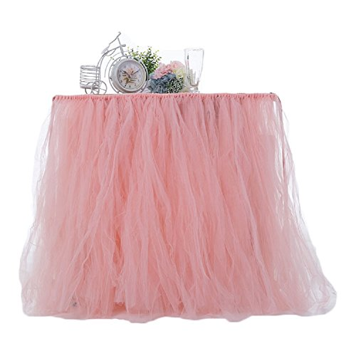 Chaoguang Blush 1 Yard Tutu Tulle Table Skirt Tableware Baby Shower Tablecloth For Party,Wedding,Birthday Party by Chaoguang
