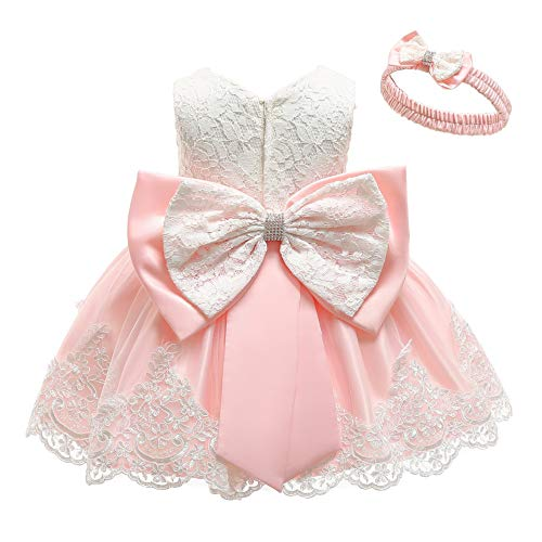 Newborn Special Occasion Dresses - KILO&METERS Pink Formal Prom Summer Wedding Girls Dresses A-line Sleeveless Knee Length Tutu Ruffle Kids Dress Princess Christeing Birthday Party Baby Dress 6M Light Pink