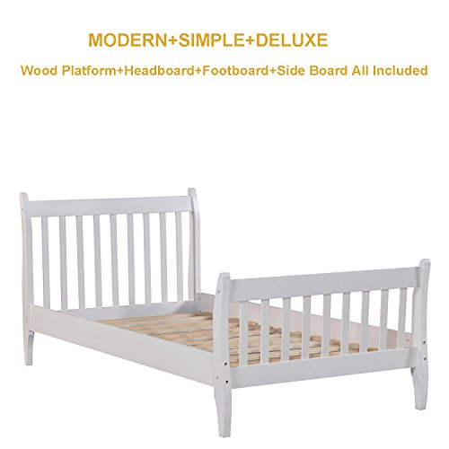 Bed Frame Twin Wood Oak,JULYFOX Modern White Bed Frame And Headboard Foot board Bed Rails Twin 400lb Heavy Duty No Box Spring Need Anti Slip Sturdy Single Bed For Kids Toddler Unisex Adults