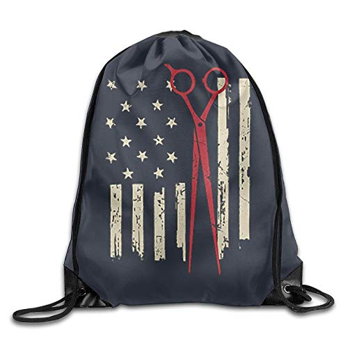 Personalized Printed Sports Leisure Shoulder Bundle Backpack American Hair Stylist Flag Portable Drawstring Beam Bag For Gym/Library/Playground/Classroom/Office