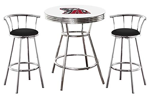(Alabama Crimson Tide Logo Themed 3 Piece Chrome Metal Finish Bar Table Set with 2 Swivel Seat Black Vinyl Bar Stools)
