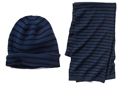 Gap Mens Blue Navy Stripe Beanie Hat & Scarf