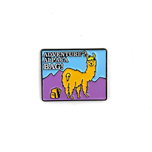 - Flowfold Enamel Pin - Adventure Pun Pins - For Jackets and Bags - Lapel Pin - Alpaca Bag