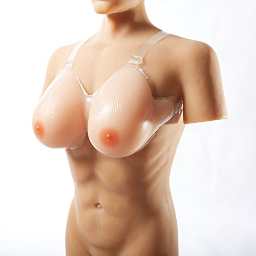 42E/46D/48C 2000g/pair Huge Water Drop Strap-on Silicone Breast Forms Fake Boobs for Crossdressers Mastectomy Transvestite + Bonus 1 pcs Silicone Coasters