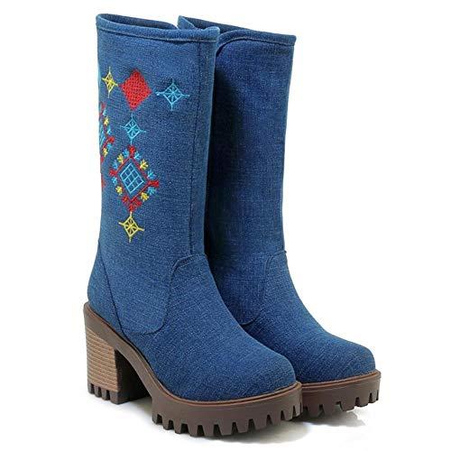 Zip Zip Zip Mid Boots Dark Calf Donne Bloccos A 8 TAOFFEN TAOFFEN TAOFFEN TAOFFEN Piattaforma Tacco Blue BqXF8