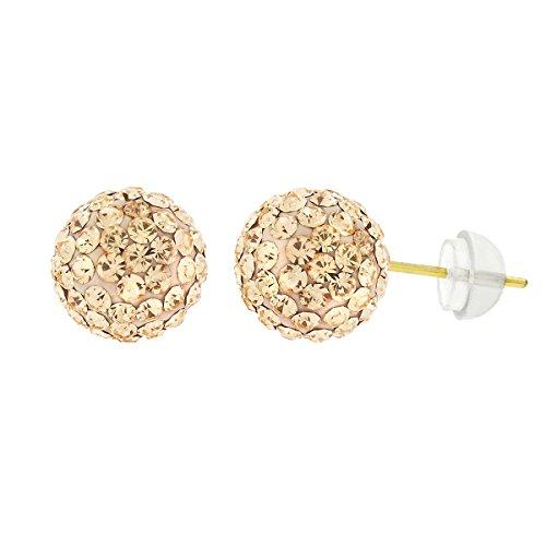 14k Yellow Gold 8mm Peach Austrian Crystal Disco Ball Stud Earrings