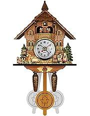 llok Cuckoo Clocks Traditional Black Forest Wood Clock Wall Decor,Wood Cuckoo Clock Swing Chic Swing Antique Coo Coo Clock Vintage Cuckoo Wall Clock Handcrafted (Size:26x6×14cm)
