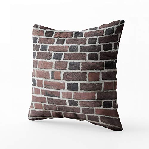HerysTa Accent Pillow Cases, Home Throw Pillow Case 20X20inch Invisible Zipper Cushion Cases Ange red Brick Wall Burgundy stes a Row Square Sofa Bed Décor