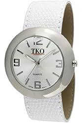 TKO ORLOGI Women's TK616-SWT Silver-tone White Leather Slap Watch