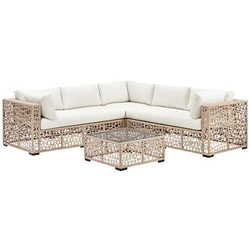 WE Furniture AZRBSRWNL Outdoor Sectional Sofa Set, Natural