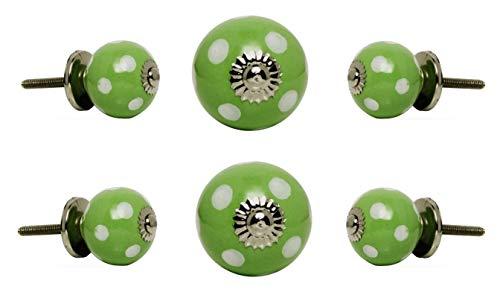 Trinca Ferro Set of 6 Ceramic Round Knob Small White Spots on Green Chrome Finish
