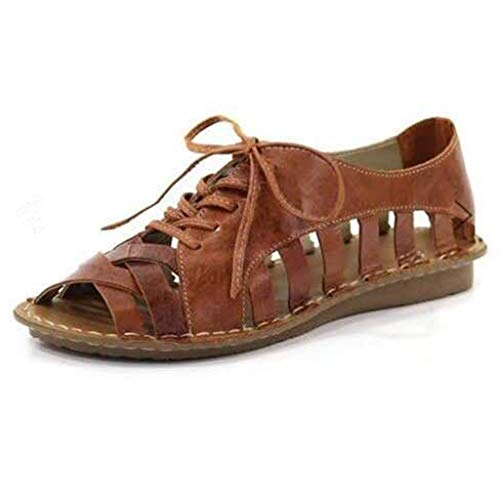 PAQOZ Women's Wedges Sandals, Ladies Peep Toe Casual Lace Up Hallow Out Neutral Flat Summer Sandals Shoes(Brown,37)