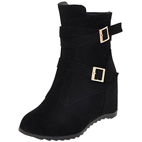 COOLCEPT Women Fashion Wedge Heel Boots Black 3BXfnpG0r