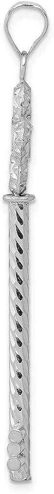 FB Jewels Solid 14K White Gold Key Diamond Cut Tube//Circle Top Pendant
