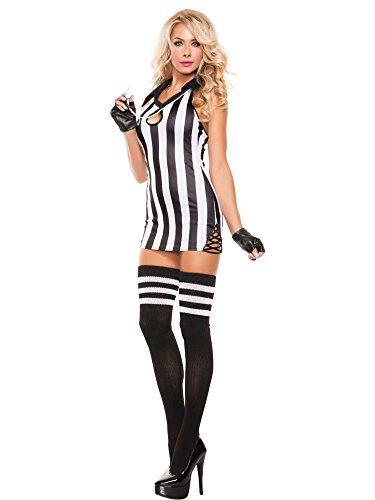Starline Women's Sexy Halter Referee 2 Piece Costume Set with Whistle, Black/White, Small (Referee Costumes For Halloween)