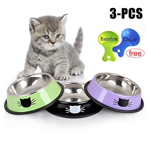 Legendog Cat Bowl Pet Bowl Stainless Steel Cat Food Water Bowl with Non-Slip Rubber Base Small Pet Bowl Cat Feeding Bowls Set of 3 (Green+Black+Purple)