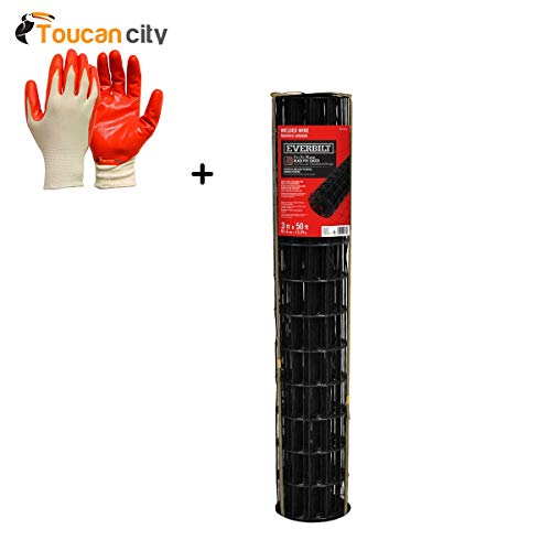 Toucan City Nitrile Dip Gloves(5-Pack) and Everbilt 3 ft. x 50 ft. Black PVC Coated Welded Wire - Gloves Black Coated Pvc