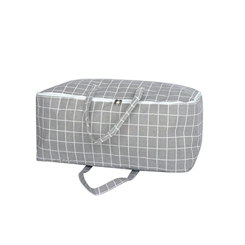 Price comparison product image Rojeam Jumbo Folding Zippered Storage Bags for Comforters,Clothes,Blanket,Duvet(Gray)