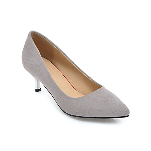 Large 42 Color DYF Sharp Plush Grey Metal Size Women's Solid Heel High Shoes FTw7IqwZ