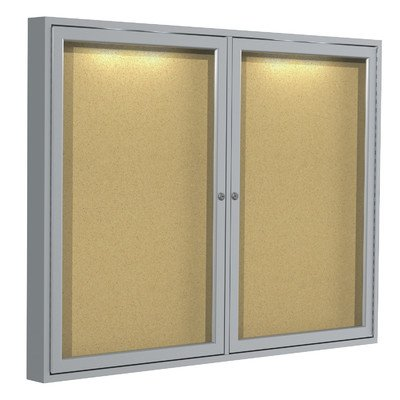 1-Door Aluminum Frame Enclosed Natural Cork Tackboard with Concealed Lighting Size: 36