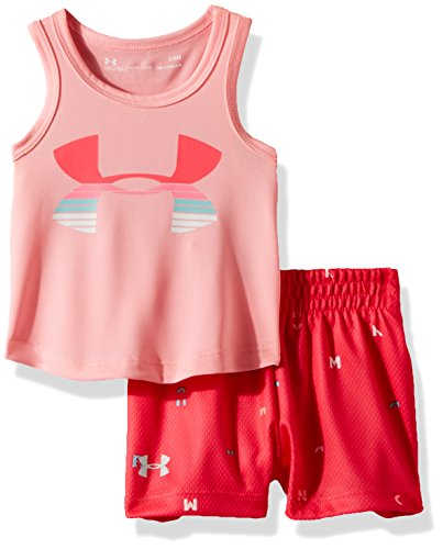 Under Armour Baby Girls UA Tank and Short Set, pop Pink, 18M