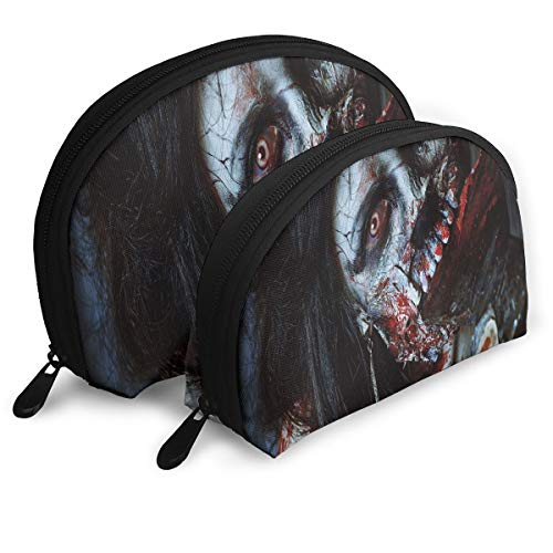 Shell Shape Makeup Bag Set Portable Purse Travel Cosmetic Pouch,Scary Dead Woman With A Bloody Axe Evil Fantasy Gothic Mystery Halloween Picture,Women Toiletry -