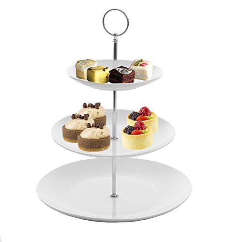 Food Display Server - Gibson White Ceramic 3-Tier Server Stand With Graduated Size Plates Large Food Server Display Trays