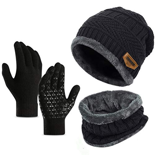 Ufoyer 3pcs Winter Beanie Hat Scarf Set Warm Knit Hat Thick Knit Skull Cap for Men Women+ Touching Gloves(Black)