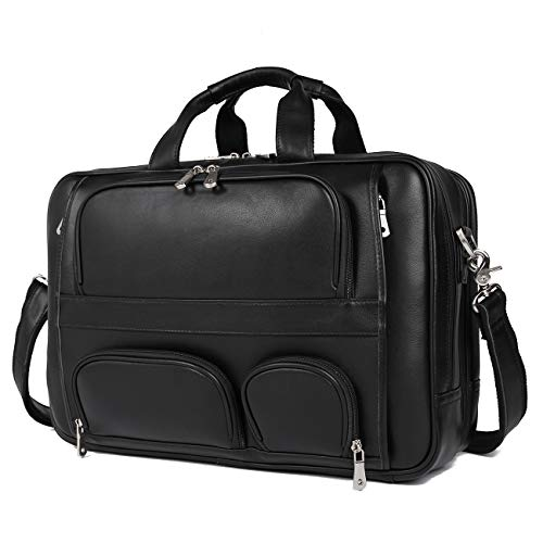 Polare Real Leather 17''Laptop Carry On Overnight Bag Business Briefcase Large (Cowhide Leather Briefs)