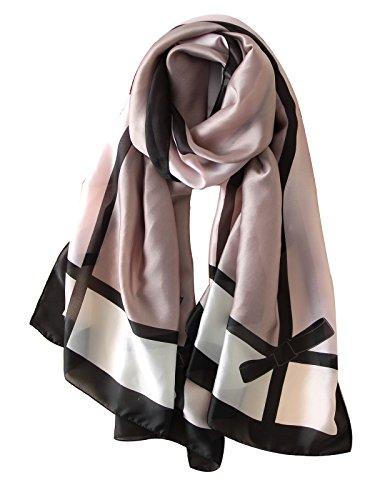 - NUWEERIR Womens 100% Mulberry Silk Scarf Long Satin Scarf Fashion Designer Scarf Lightweight Wraps