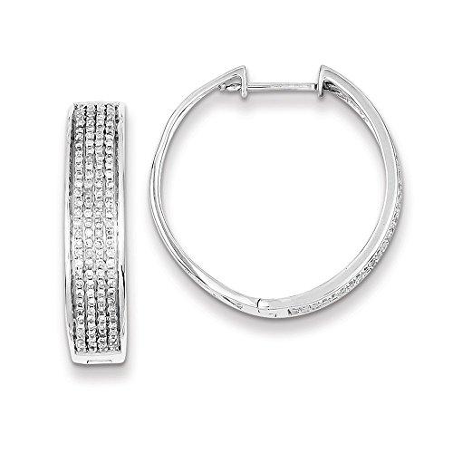 Sterling Silver Diamond Round Hinged Hoop Earrings by CoutureJewelers