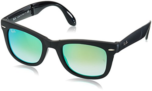 Ray-Ban Folding Wayfarer - Matte Black Frame Green Mirror Gradient Lenses 50mm - Ray Ban 4105 Wayfarer Folding