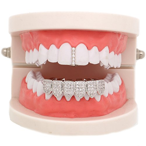 LuReen 14k Gold Iced-Out Pave CZ Bar Grillz Teeth Top and 6 Bottom Set + Extra Molding Bars (Silver)