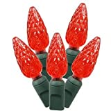 Vickerman 50 Light Red C6 LED Light Set on Green Wire