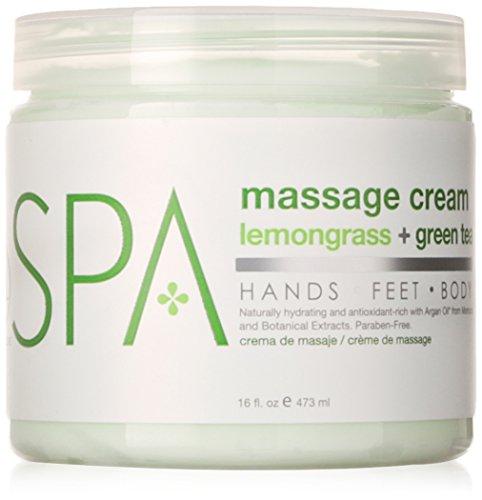 BCL Spa Lemongrass and Green Tea Massage Cream, 16 Ounce