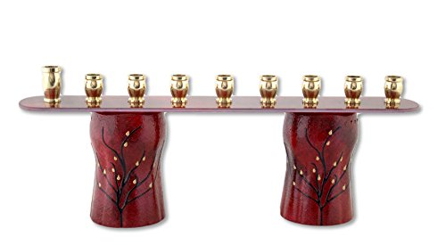 Sand and Water Creations in Glass Menorah Hanukkah Unique Recycled Glass Hand Painted Scarlet Red (Wax Warm Leg Studio)