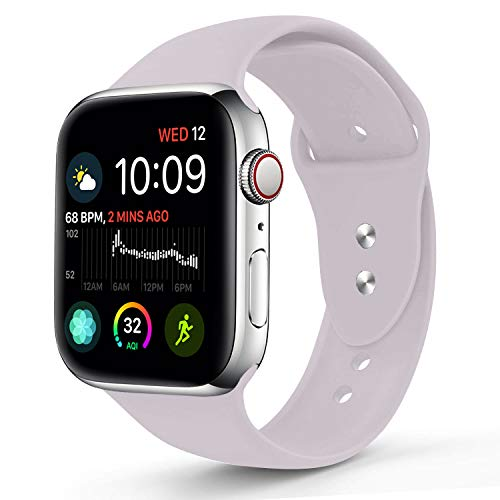 Sworddy Sport Band Compatible with Apple Watch 42MM 44MM,Soft Silicone Replacement Strap Compatible for Apple Watch Series 4/3/2/1 [S/M Size in Lavender Color]