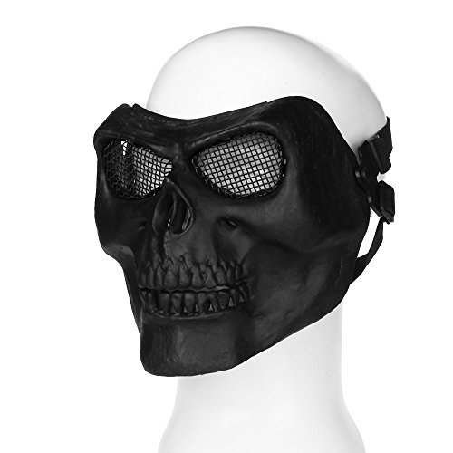 Flexzion Tactical Airsoft Mask Paintball Game Full Face Protection Skull Skeleton Safety Guard in Black for Outdoor Activity Party Movie Props Fit Most Adult Men Women