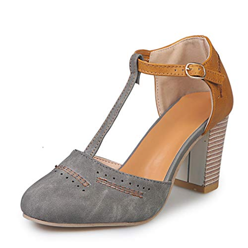 GanQuan2018 Women Mary Jane Pumps Round Toe Platform Chunky Block High Heel T - Strap Gladiator Sandals