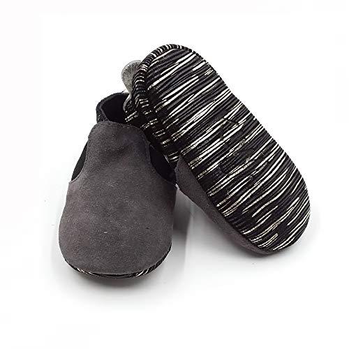Image of Kiwi Shimmer Suede Gray Stripe Moccs (Size 4)