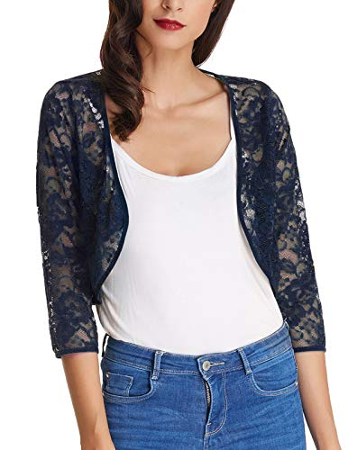 Womens Navy Floral Shrug Crop Jacket for Dresses with 3/4 Sleeve (Navy Blue,S) KK430-5