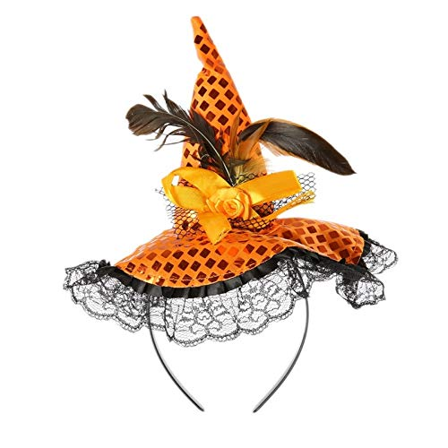 Corcrest - Halloween Headband with Small Witch hat Halloween Head Circle for Children and Adult [Orange]