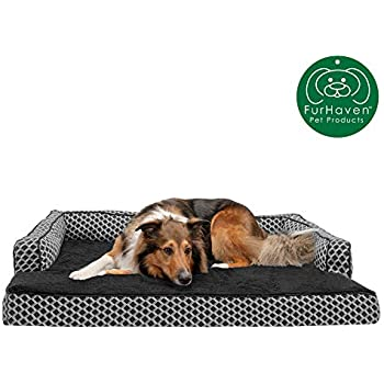 Furhaven Pet Dog Bed | Cooling Gel Memory Foam Plush Faux Fur & Décor Comfy Couch Traditional Sofa-Style Living Room Couch Pet Bed w/ Removable Cover for Dogs & Cats, Diamond Gray, Jumbo