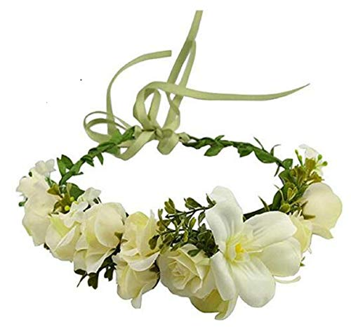 Vividsun Flower Crown Floral Headpiece Festival Wedding Hair Wreath Floral Crown (H/lily white)