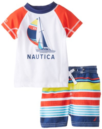 Nautica Baby-Boys Infant Rashguard Swim 2 piece Set, Bright Orange, 24 Months